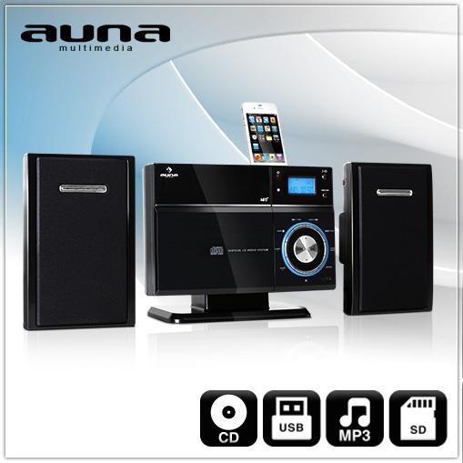 AUNA-VM-192i-KOMPAKT-HIFI-MUSIK-ANLAGE-CD-PLAYER-USB-SD-MP3-iPHONE-WANDMONTAGE