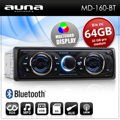 BLUETOOTH-FREISPRECH-EINRICHTUNG-AUTORADIO-USB-SD-MP3-PLAYER-CAR-HIFI-RDS-RADIO
