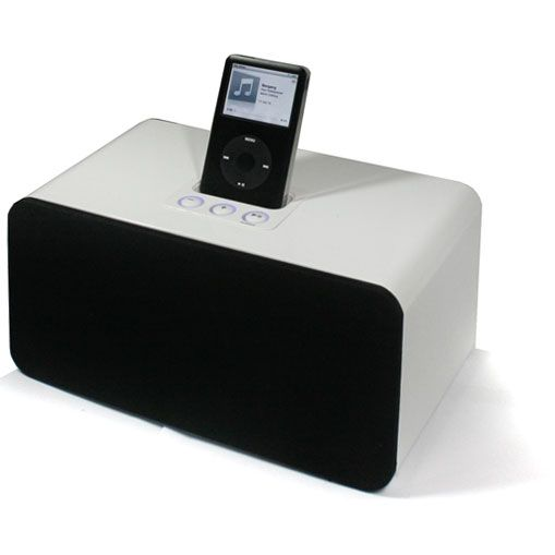 Denver IFI-160 iPod Docking Station AUX Pianolack weiss