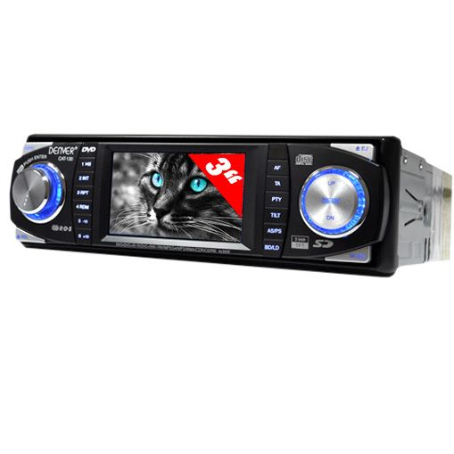 "Denver Carradio DVD-Player SD MP3 MP4 AUX 7,6cm (3"") Display"