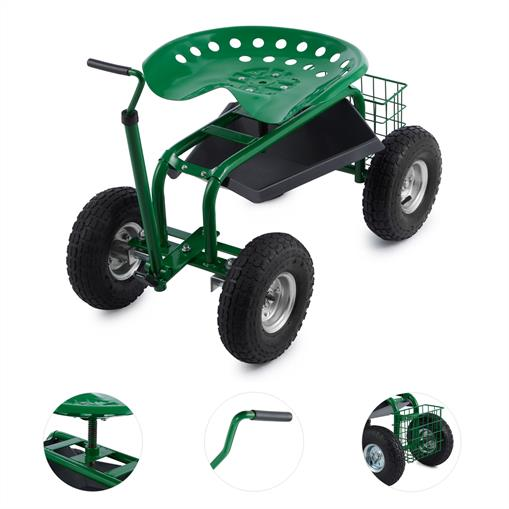 WALDBECK PARK GARDEN CHAIR ROLLING SEAT 4 WHEELS 130 KG STORAGE