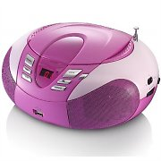 Lenco SCD-37 Boombox CD-Player MP3 USB AUX UKW-Radio pink
