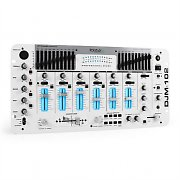 IBIZA DJM-102 Mixer 4 Canaux LED Effets Echo Battle Blanche