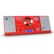 auna MC-120 Stereoanlage MP3-CD-Player USB UKW/MW AUX Sticker-Set rot