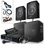 "Set DJ PA ""Bassmountains USB"" 4 enceintes 1 ampli 1 mixer 2000W"