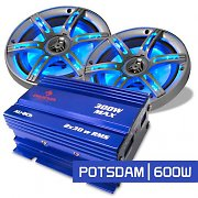 "Set Car HiFi ""Potsdam"" Sistema 2.0 600W amp & casse LED"