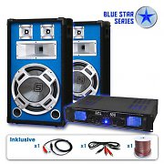 "PA Set Blue Star Series ""Basskick"" 1600Watt 1 Verstärker 2Boxen"