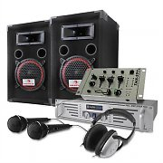 Set DJ PA 2 enceintes, 1 ampli, 1 table de mixage 1000W