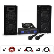 "DJ PA SET ""DJ-25M"" PA Ampli enceintes micros table mix 1600W"