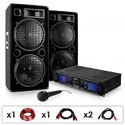 DJ PA SET DJ-27 Ampli PA + 2 enceintes 2000W USB SD MP3