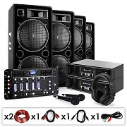 "Set Sono DJ ""Bass First Pro Bluetooth"" 2 x amp 4 x enceinte mixeur 4000W"