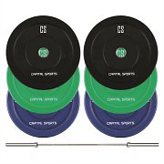 CAPITAL SPORTS Nipton Mens Set II Barra Olímpica Discos de peso 3 Par 5,10 & 20 kg