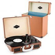 auna Peggy Sue Record Collector Set brown | Retro Plattenspieler | Plattenkoffer