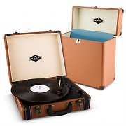 auna Jerry Lee Record Collector Set brown | Retro Plattenspieler | Plattenkoffer