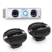 auna MD-170-BT set de HiFi para coche autorradio + altavoz de 4 vías auto MP3 USB SD BT