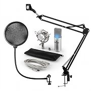 auna MIC-900S-LED Set Microfono USB V4 Condensatore Anti-Pop LED Braccio argento
