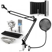 auna MIC-900S-LED Set Microfoni USB Condensatore V5 Anti-Pop Argento