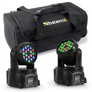 beamZ ljuseffekt-set med transportväska 2x LED-108 moving-head & 1x soft case