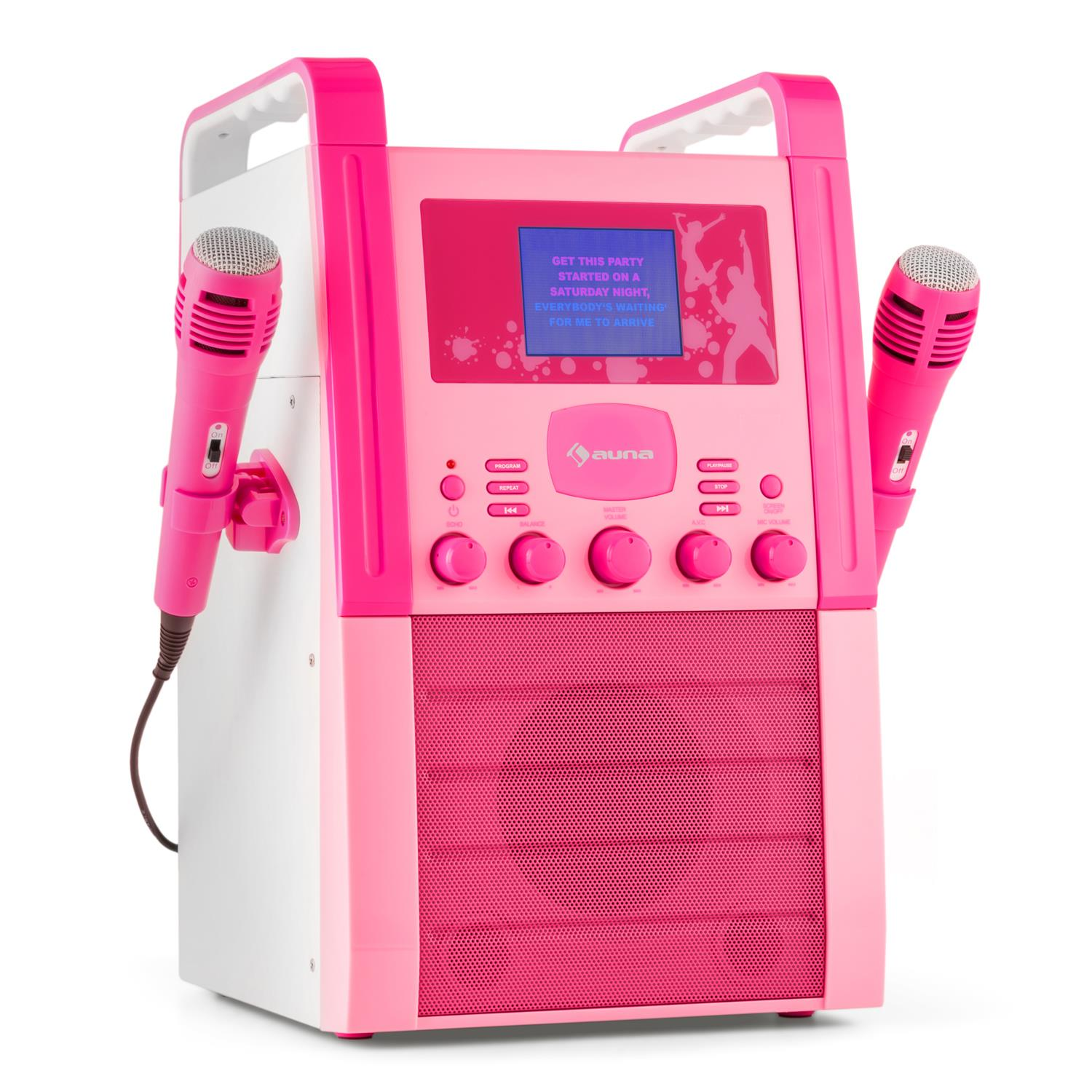 Karaoke-Ninas-Infantil-Portatil-Efecto-Eco-AUX-Reproductor-CD-Entrada-Video-Rosa