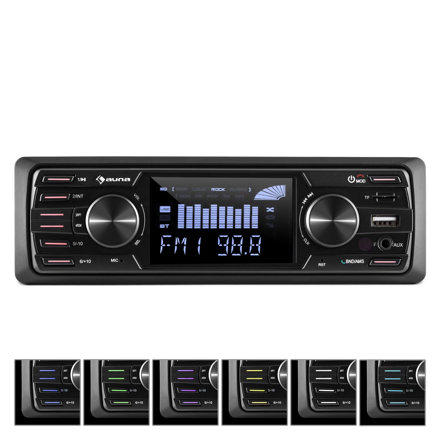 Autoradio-Bluetooth-Stereo-Auto-Radio-Tuner-VHF-MP3-Ingresso-AUX-USB-Display-LCD